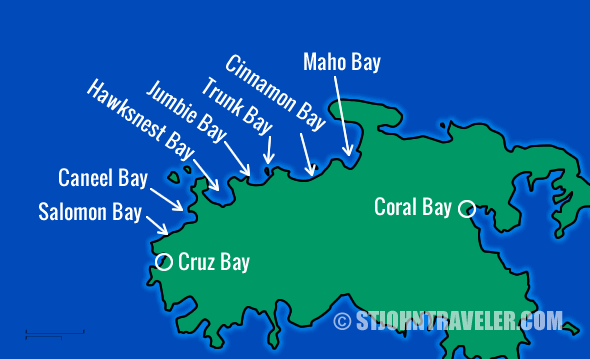 St. John USVI North Shore Snorkeling Map