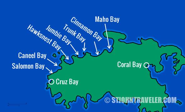St. John USVI North Shore Snorkeling Map